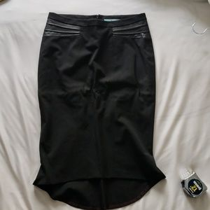 Black marciano pencil skirt